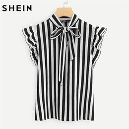 cbf764392 7 Fotos Compra On-line Blusa branca gravata preta-SHEIN Verão Top EleWork  Mulheres Blusas Cap