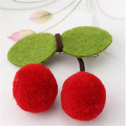 Girl hair accessories cherry online shopping - Sweet Cute Girls New Cherry Bow Hairpins Ornaments Headdress Tiara Hair Clip New Charm Kids Baby Ball Leaves Barrette Accessory aa171