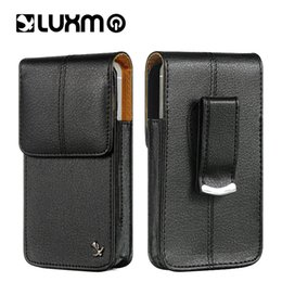 Leather beLt cLips online shopping - LUXMO Leather Holster Clip Waist Pouch Universal Belt Bag for iPhone SE LG ZTE Nokia Moto Luxury Waistband Phone Vertical Case