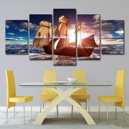 $enCountryForm.capitalKeyWord Australia - Modern Canvas HD Printed Painting Home Decor Wall Art Pictures 5 Panel Sea Wave Sailing Boat Sunset Seascape Poster