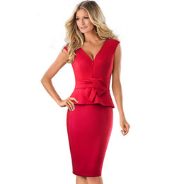 $enCountryForm.capitalKeyWord Canada - Western Style Empire Dresses Bodycon Summer Women Clothing Cotton Blend Good Quality Sexy V-neck Sleeveless Sheath Dress Red Short Sleeves