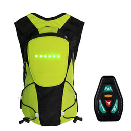 LED Light Turn Signal Light Backpack Wireless Remote Control Safety Backpack Bicycle Riding Night Warning Guiding Riding Bag on Sale