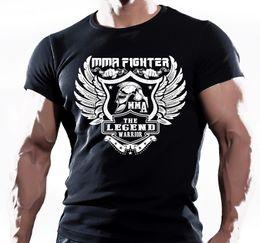 Опт Американский ММА истребитель тренажерный зал черный хлопок футболка UFC WWF мужская футболка топ