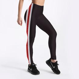 $enCountryForm.capitalKeyWord NZ - New Arrival Black Sexy Women Leggings Trousers Yoga Fitness Elastic Tights Girls Breathable Red Stripe Lady Gym Pants S-4XL