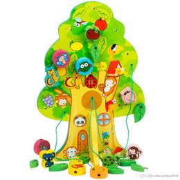 $enCountryForm.capitalKeyWord NZ - Wholesale-2016 New Arrival Children Favor Educational Wooden Toy Animal Fruit Tree House Stringing Beads Baby Birthday Gift