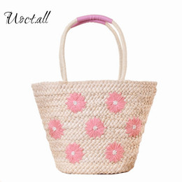 Lady Handbags Handmade Canada - Large Beach Bags Daisy Floral Embroidery Handmade Weave Straw Handbags Summer Boho Shoulder Bags Women Straw Shopping Tote