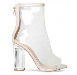 3a40cce3b6a Clear bloCk heels online shopping - Transparent PVC Women Ankle Boots Kim  Kardashian Style High Heels