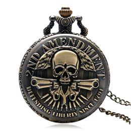 $enCountryForm.capitalKeyWord NZ - Vintage 2ND AMENDMENT Guns Skull Design Quartz Pocket Watch Men Boy Fob Watches Necklace Gift