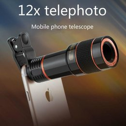 Telescope For Iphone 12x NZ - 12X Long-focus Mobile Phone Lenses Zooming and Telescoping External Mobile Phone 8 X Camera Lens for iPhone Sumsung