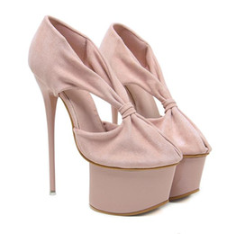 32bc56ead08 16cm sexy ladies high platform v cut hollow out strappy shoes women  designer high heels pink black size 34 to 40