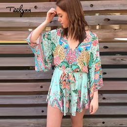 819a0b0ed1ea Floral Print boho Women Playsuits 2018 V-Neck sexy backles Kimono sleeve Summer  jumpsuit romper chic beach wear Ladies jumpsuit Y1891806