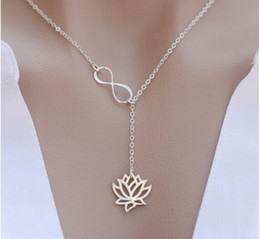 Gold choker initial online shopping - 2018 New Infinity Letter Lotus Pendant Necklaces Fashion Popular Jewelry Choker European and American Jewelry