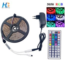 HBL LED Strip 5050 4M 5M Led Ribbon RGB Strip Light Non Waterproof Flexible  Tape IR Controller DC 12V Adapter Set