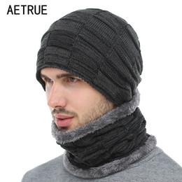 Flat Hats For Women Australia - AETRUE 2018 Winter Beanie Hat Scarf skullies beanies Soft Skull Warm Baggy Cap Mask Gorros Winter Hats For Men Women Knitted Hat S1020