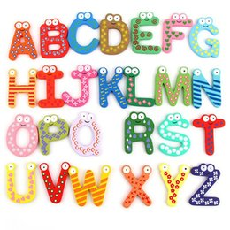 Puzzles Magnets NZ - 26Pcs Cartoon Fridge Wooden Magnet Baby Child Toy Puzzle English Educational Toy Alphabet 26 Letters