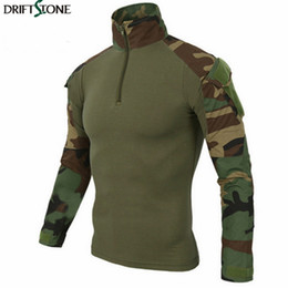 Combat taCtiCal uniforms online shopping - Tactical Camouflage T Shirt Uniform US Army Combat t shirts Cargo Woodland Paintball Militar Tactical Clothing