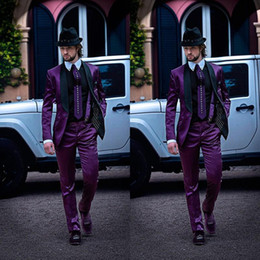 $enCountryForm.capitalKeyWord Canada - 2017 New Italian Mens Suits Purple Jacket with Black Collar Wedding Tuxedos latest coat pant designs men Suit costume homme