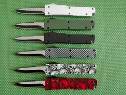 Buckle knives online shopping - 6 colors mini Key buckle pocket knife aluminum automatic double action fishing self defence gift knife xmas knife