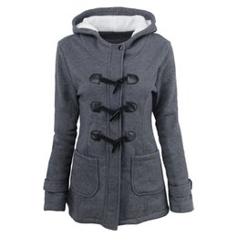 6xl ladies jacket online shopping - Autumn winter explosions ladies Hooded blend horn leather buckle midi jacket cotton coat women with zipper