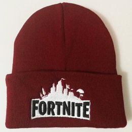 Wholesale beanie embroidery online shopping - Fortnite Battle Knitted Hat Beanies Men Women The Fortress Night Woolen Embroidery Warm Head Cap Pure Color lh bb