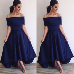 Discount simple off white prom dresses - 2018 Fall Navy Blue Off Shoulder Bridesmaid Dresses A Line Backless Hi Lo Style Simple Prom Dresses Formal Evening Party