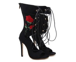 $enCountryForm.capitalKeyWord UK - New Roman Embroider Gladiator High Heels Women Sandals Stiletto Booties Open Toe Strappy Lace Up zip Shoes Woman Boots