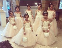 $enCountryForm.capitalKeyWord Australia - Princess White Flower Girls Dresses For Wedding 2018 Lace Tulle Applique Cheap Girls Pageant Gown Sheer Long Sleeves