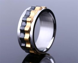gearing ring UK - Titanium Steel Ring Moveable Gear Style Ring Wholesale Man Party Stainless Steel Ring R216