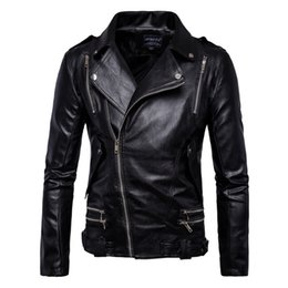 Discount high neck motorcycle jacket fashion - 2018 Mens Leather Jackets Spring Autumn High Quality PU Leather Motorcycle Jackets Coats Men Clothing Pleated
