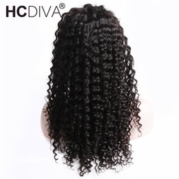 China Deep Wave 360 Lace Frontal Wigs Pre Plucked With Around Baby Hair Black Color For Woman Brazilian Remy Lace Frontal Wigs HCDIVA cheap indian hair lace wig suppliers