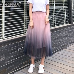 13b76662fc8 Women Long Tutu Skirt NZ - TIGENA 2018 Gradient Color Summer Tulle Skirt  Women High Waist