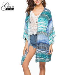 $enCountryForm.capitalKeyWord NZ - Gold Hands Fashion Women Spring Summer Bohemian Chic Floral Printing Tops Beach Cover Up Chiffon Blouse Shirts Casual Loose Kimono Cardigan