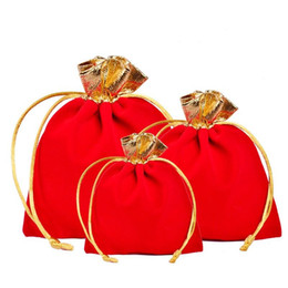 Candy Door Gift UK - Jewellery Bag Gules Fashion Velvet Gold Edge Rope Pulling Bundle Pocket Gift Ornaments Packing Bags For Christmas Best Gifts 0 6cy ZZ