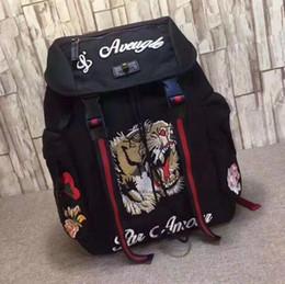 Venta al por mayor de Tiger bordado Techpack con bordado de lujo diseñador bolso de viaje mochila hombre estilo bolsos de hombro bolsa de libro
