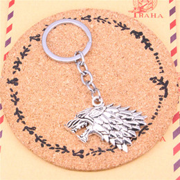 $enCountryForm.capitalKeyWord NZ - Keychain ice and fire dire wolf Pendants DIY Men Jewelry Car Key Chain Ring Holder Souvenir For Gift