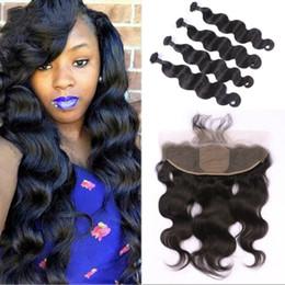 $enCountryForm.capitalKeyWord Australia - 13x4 Body Wave Silk Base Lace Frontal with Bundles Unprocessed Brazilian Human Hair Weave with Frontal Closure FDshine