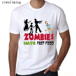 food t shirts Australia - T Shirts Comfort Soft O-Neck Zombies Hate Fast Food Short-Sleeve Mens Shirt