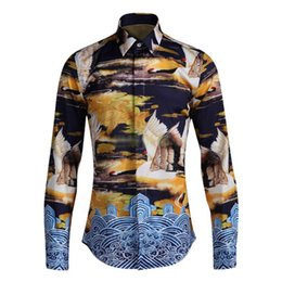 long sleeved chinese collared shirts UK - Free Shipping New male men's man Spring 2018 Chinese style fairy crane printing autumn slim style long-sleeved shirt