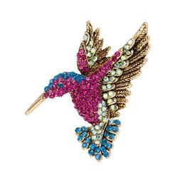 $enCountryForm.capitalKeyWord NZ - New Men Women's Vintage Bronze Colorful Rhinestone Alloy Bird Brooch Fashion Woodpecker Pin Suit Coat Scarf Ornament Popular Jewelry