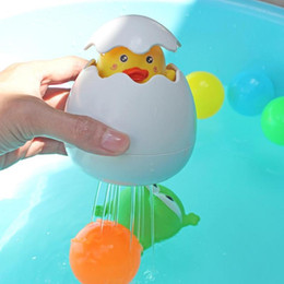 Black Swimming Toys Australia - Cute Duck Penguin Egg can Spray Water Baby Bath Toy Bathroom Sprinkling Shower Swimming Water Funny Toys Kids Gift 10*9.5*9.5cm