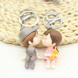 pendant couple boy girl NZ - 1 Pair BOY Girl Cartoon Dolls Keychain Keyring For Lover Couples - Cute Car Key Chian Ring Holder Womens Bag Charm Pendant