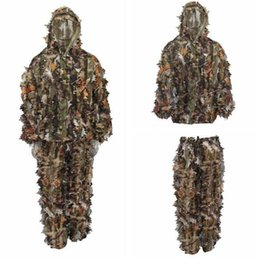 China Durable Outdoor Woodland Sniper Camo Ghillie Suit Kit Cloak Outdoor Leaf Camouflage Jungle Hunting Birding Suit Novelty Items CCA10371 1pcs cheap jungle camo suppliers
