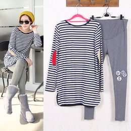striped shirts for women 2018 - Maternity Suits Pregnant Striped Shirt + Leggings Pants Long Sleeved T-shirt Set for Women Clothing Spring Autumn Winter