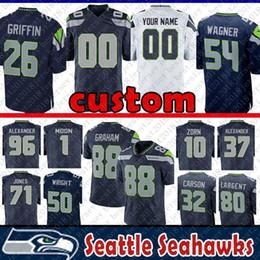 China 26 Shaquill Griffin custom Jersey Seattle Seahawks Wagner 1 Warren Moon 10 Jim Zorn 37 Alexander 96 Kennedy 71 Jones 15 Marshall 80 Largent suppliers