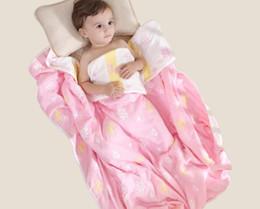 Quilts Bedding Cute UK - 110*110cm Baby Kid Summer Quilt Blanket Quilting Bedding 100% Cotton Gauze Skin Warm Care Cute Design Bath Towel