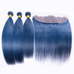 $enCountryForm.capitalKeyWord UK - New Products Silky Straight human Hair Weft 3pcs With Lace Frontal Pure Blue Color Hair Bundles Extensions With Ear To Ear Lace Frontal