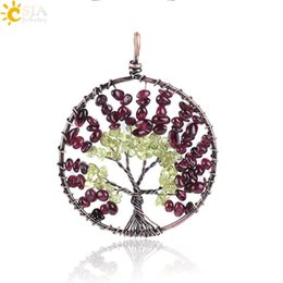$enCountryForm.capitalKeyWord UK - CSJA Natural Stone Charms Pendant Irregular Crystal Gravel Gemstone Chips Handmade Metal Wire Wrap Tree of Life Women Fine Jewelry E767 A