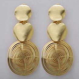 Venta de toda la joyería de moda africana Pendientes largos largos de la gota cuelgan para las mujeres de cobre oro puro - color brasileño de moda para la boda de fiesta en venta