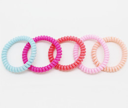 10pcs bag hair elastics for girls,hot selling telephone hair ties,colorful thin telephone wire for long hair,fashion ropes ponytail holder on Sale