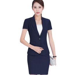 4e149196d2251 Summer work wear women skirt suits set fashion formal short-sleeve slim  blazer with skirt office ladies plus size work wear